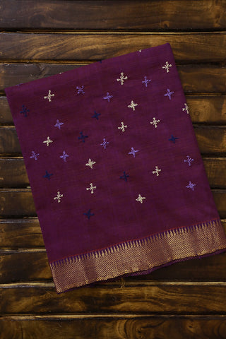 Purple Mangalagiri with Lambani Embroidery