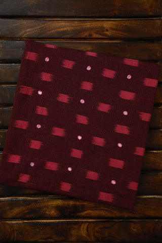 Maroon with Pink mirror work Ikat fabric