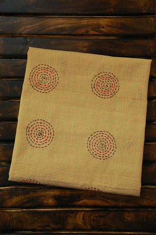Beige Micro checks Handwoven with Circles Embroidered Blouse Fabric