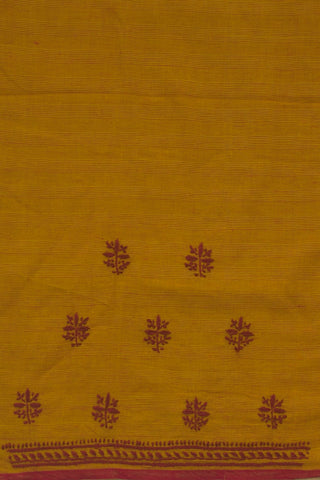 Fenugreek with Purple Chikan Handworked Cotton Blouse
