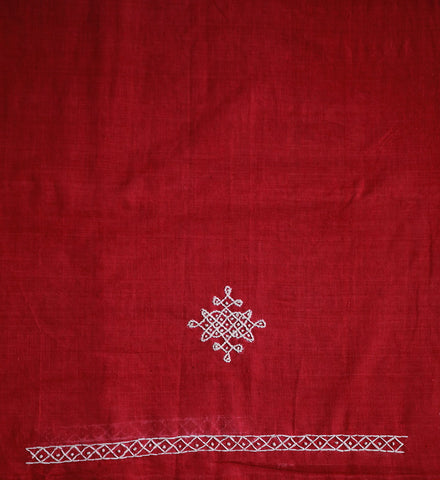 Pink Handwoven Fabric with Kollam Embroidery