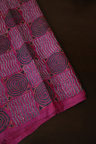 Pink Embroidered Tussar Silk Blouse Fabric