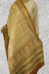 Orange Daisy Flower Chevron Palla Tussar Silk Dupatta