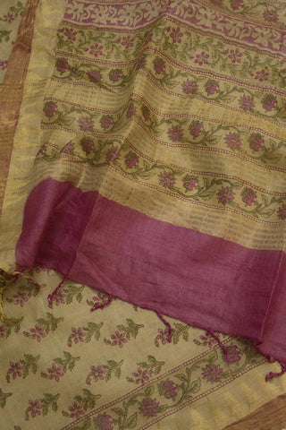 Pink with Small Flowers Tussar Silk Dupatta