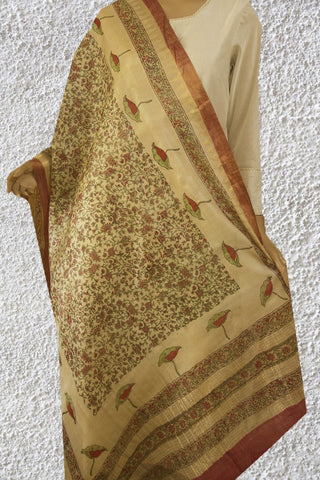 Peach with Green Intricate Floral Tussar Silk Dupatta