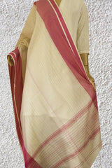 Off White with Pink Border Handwoven Maheshwari Silk cotton Dupatta