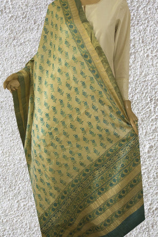 Beige with Ramar Blue Flowers Tussar Silk Dupatta