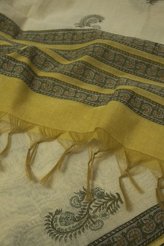 Subdued Yellow with Green Chanderi Dupatta