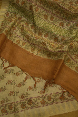 Orange Flowers with Temple Border Tussar Silk Dupatta