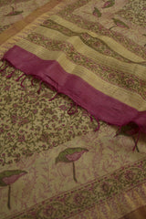 Pink with Green Intricate Floral Block Printed Border Design Tussar Silk Dupatta