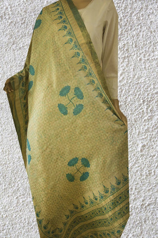 Blue lotus Tussar Silk Dupatta