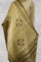 Grey Lotus with Subtle Triangles Tussar Silk Dupatta
