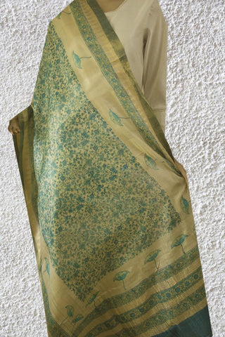 Shades of Blue Intricate Floral Tussar Silk Dupatta