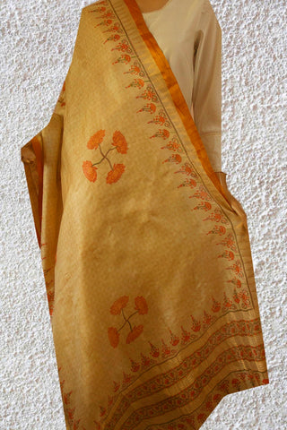 Orange Lotus Tussar Silk Dupatta