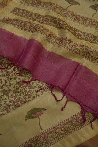 Beige with Pink Intricate Floral Tussar Silk Dupatta