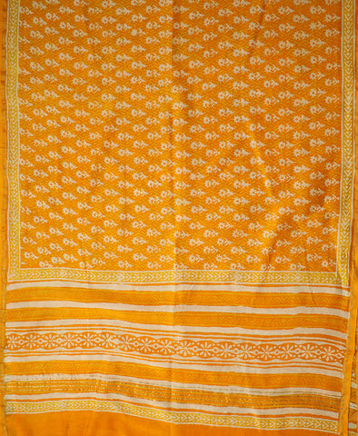 White Small Floral in Orangish Yellow Block Printed Dupatta