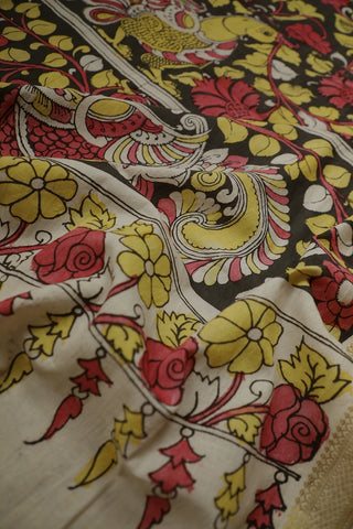 Annam Hand Painted Kalamkari Silk Cotton Dupatta
