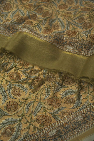 Light Brown with Grey Floral Chanderi Dupatta