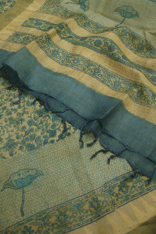 Blue with Small Diamond Border Tussar Silk Dupatta