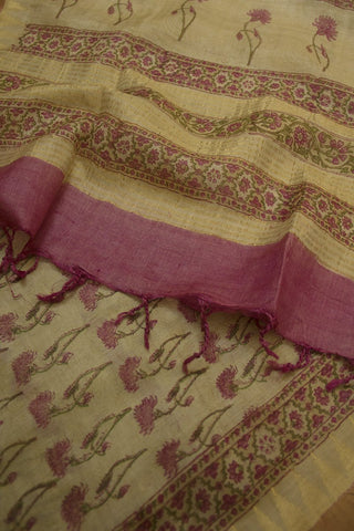 Beige with Pink Daisy Flower Tussar Silk Dupatta
