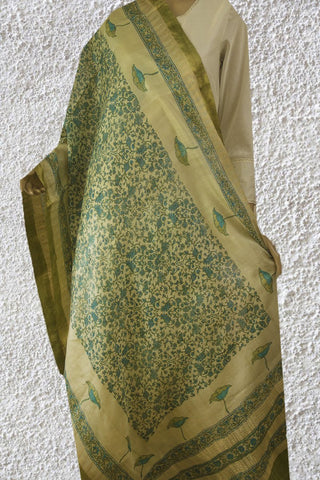 Green with Blue Temple Border Tussar Silk Dupatta