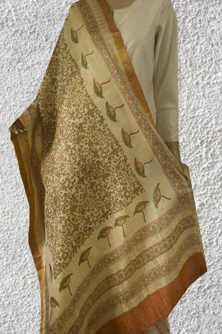 Green with Orange Intricate Floral Tussar Silk Dupatta