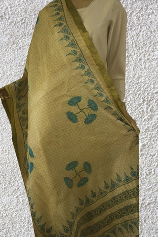 Lotus Print Ramar Blue with Subtle Triangles Tussar Silk Dupatta