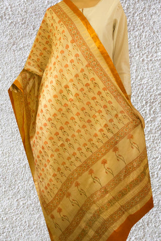 Orange with Beige Block Printed Sanganeri Tussar Silk Dupatta