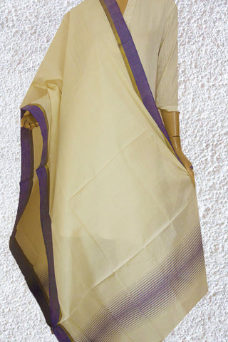 White with Blue Handwoven Cotton Dupatta