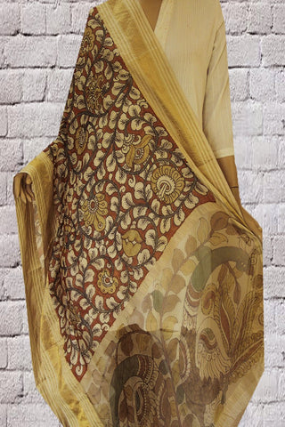 Missing Weave Silk Cotton Hand Painted Maheshwari Dupatta