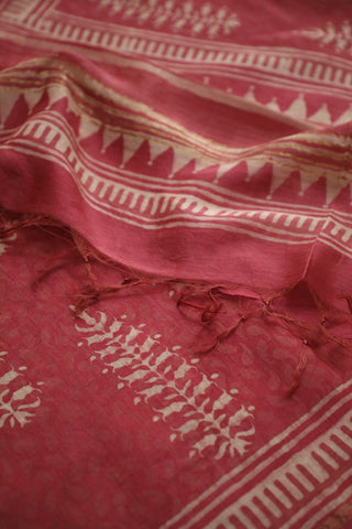 Pink With Off white Big Floral Chanderi Dupatta