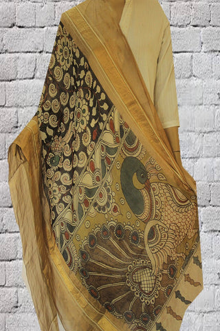 Black Floral Hand Painted Silk Cotton Maheshwari Dupatta