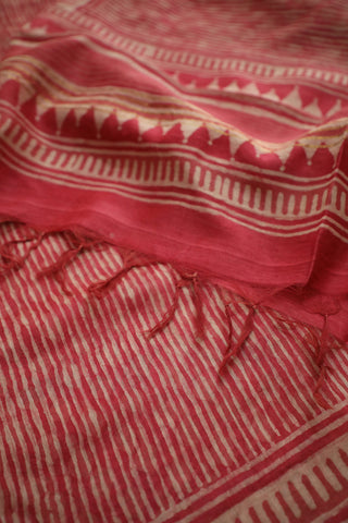 Pink with White Lines Block Printed Chanderi Dupatta