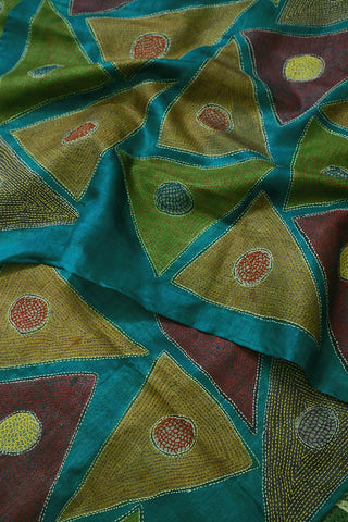 Blue Triangles Embroidered Kantha Work Silk Dupatta