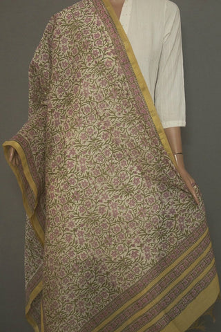 Light Pink with Green Floral Chanderi Dupatta