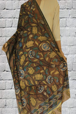 Brown with Yellow Lotus Hand Painted Kalamkari Chanderi Dupatta