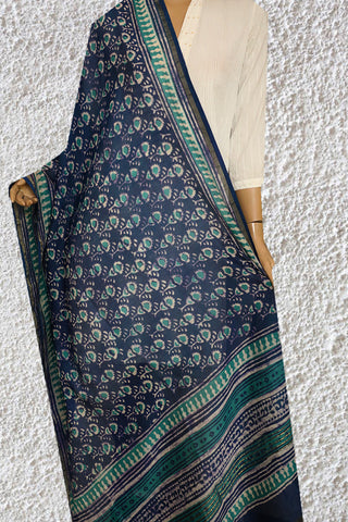 Peacock Blue with Green Hand Block Printed Chanderi Dupatta