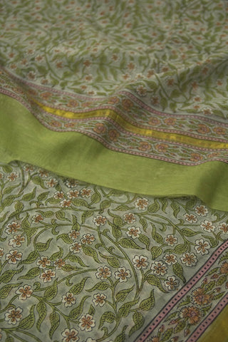 Grey with Brown Floral Chanderi Dupatta