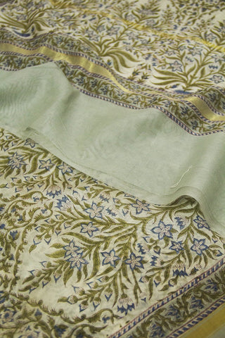 Blue with Subdued Green Intricate Floral Chanderi Dupatta