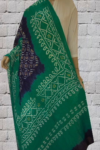 Blue with White Tie and Dye Bandhini Cotton Dupatta