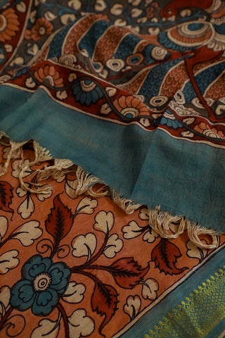 Faded Brownish Orange Hand Painted Kalamkari Cotton Dupatta