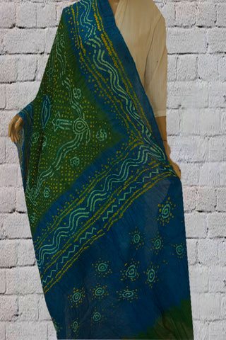 Sky Blue with Green Tie and Dye Bandhini Cotton Dupatta