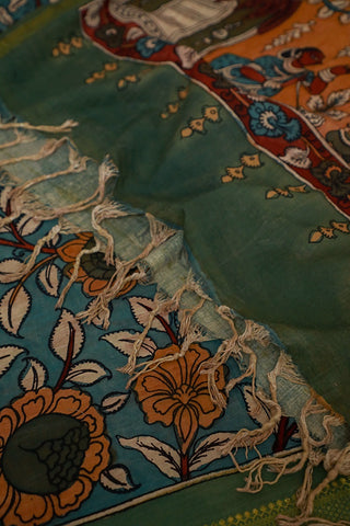 Green Mangalagiri Border Hand Painted Kalamkari Cotton Dupatta