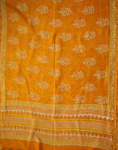 Orange with Yellow and Off White Floral Chanderi Dupatta