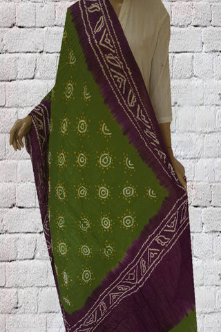 Green with Brinjal Blue Tie and Dye Bandhini Cotton Dupatta