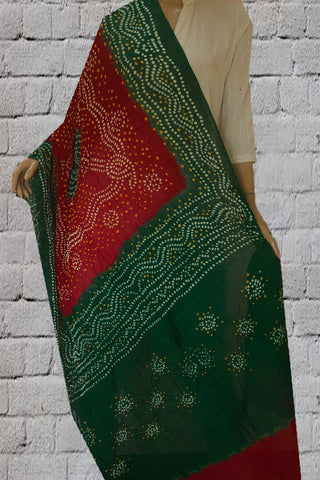 Green with Orange Tie and Dye Bandhini Cotton Dupatta