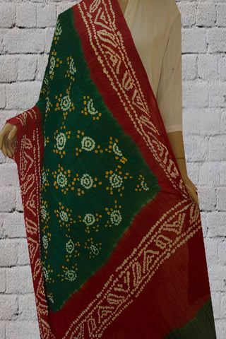 Dark Green Tie and Dye Bandhini Cotton Dupatta