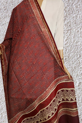 Maroon with Dots and Florals Hand Block Printed Chanderi Dupatta