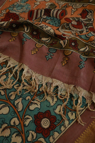 Faded Ramar Blue with Maroon Painted Kalamkari Cotton Dupatta