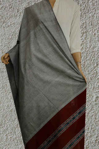 Maroon in Grey Handwoven Ikat Soft Cotton Dupatta